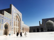 The mosque is laid out in the classical plan of four iwans or halls around a central courtyard.